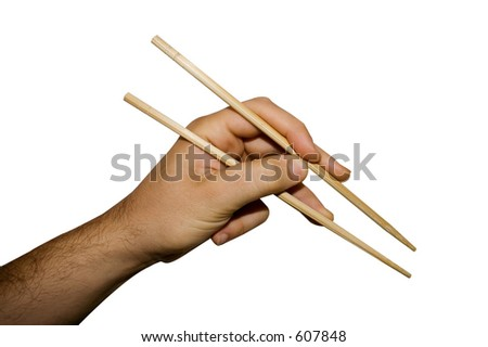 A hand using chopsticks isolated on white background