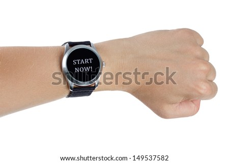 A hand wearing a black wrist watch. Start now concept - stock photo