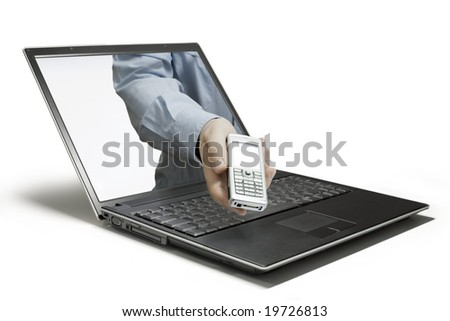 A hand which seems to come out of the screen
