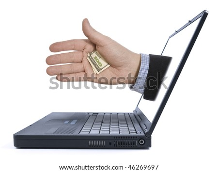 A hand with a hidden tip appears from the laptop screen.