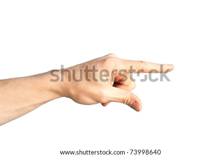 A hand with a pointing finger isolated on white - stock photo