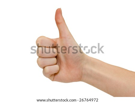 A hand with thumb up on a white background
