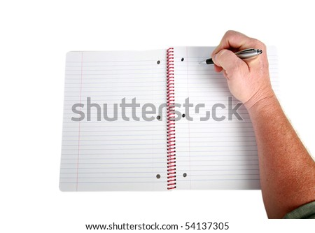 a hand writes on a piece of paper isolated on white