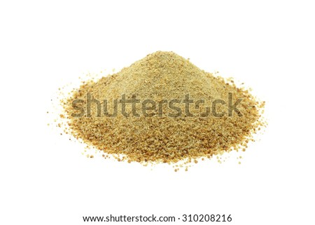 a handful of breadcrumbs on a white background
