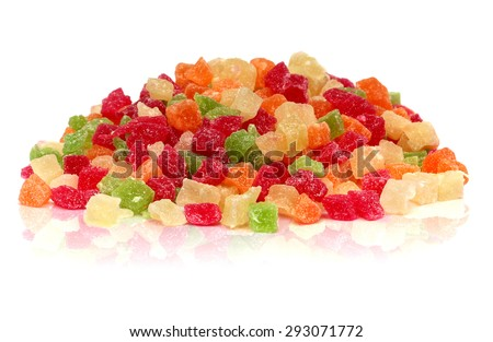 A handful of colorful sweet candied fruit on a white background - stock photo