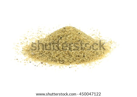 a handful of large grains of sand on a white background