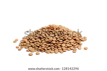 a handful of lentils isolated on white background - stock photo