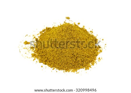 a handful of spices and seasonings for meat on a white background
