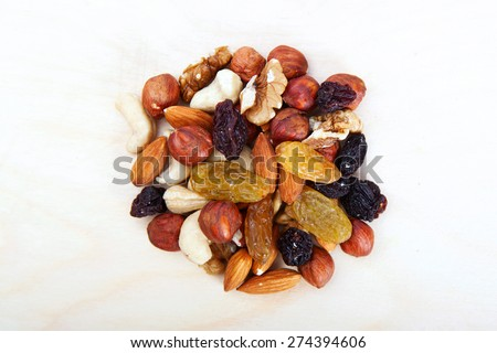A handful of trail mix isolated on white. Big pile of different nuts lying  on a white background. - stock photo