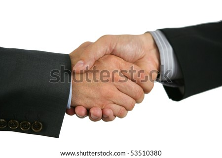 A handshake on white background