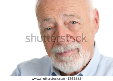 A handsome, distinguished senior man with a wise expression.  Closeup on white. - stock photo