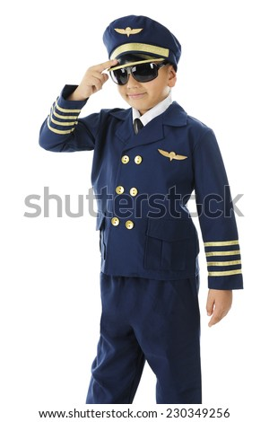 "A handsome elementary ""airline pilot"" giving a two-finger salute.  On a white background.   - stock photo"