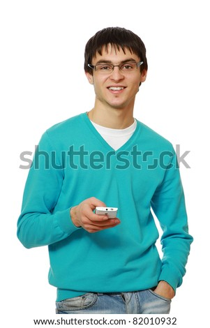 A handsome man with mobile phone, isolated on white - stock photo