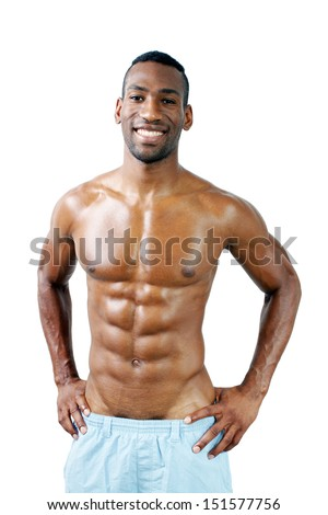 A handsome, muscular black man, isolated on a white background with generous copyspace. - stock photo