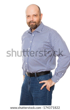 A handsome smiling man with a beard, isolated on white background. - stock photo