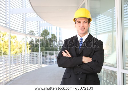 A handsome young business architect at construction site