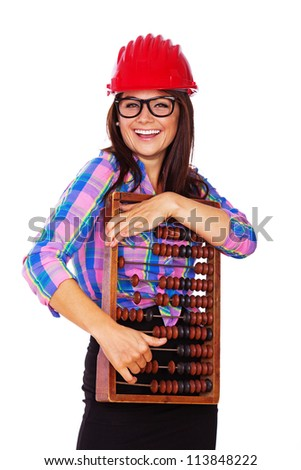 A handsome young girl is holding an abacus