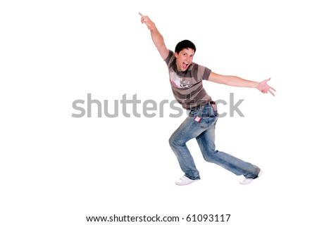 A handsome young man jumping  isolated on white