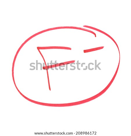 A handwritten grade for failed achievements. - stock photo