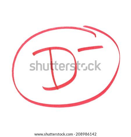 A handwritten grade for poor achievements. - stock photo