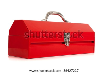 A handyman's red metal toolbox, closed, on a white background