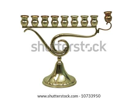 A Hanukkah Menorah Candles isolated on white background. - stock photo