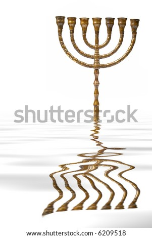 A Hanukkah Menorah reflected on water background - stock photo