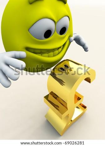 A happy cartoon figure that has found a pound. - stock photo