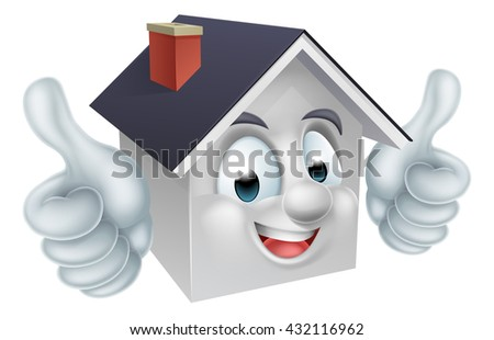 A happy cartoon house man mascot character doing a double thumbs up
