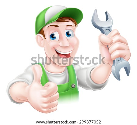 A happy cartoon plumber or mechanic man holding a spanner or wrench and giving a thumbs up - stock photo