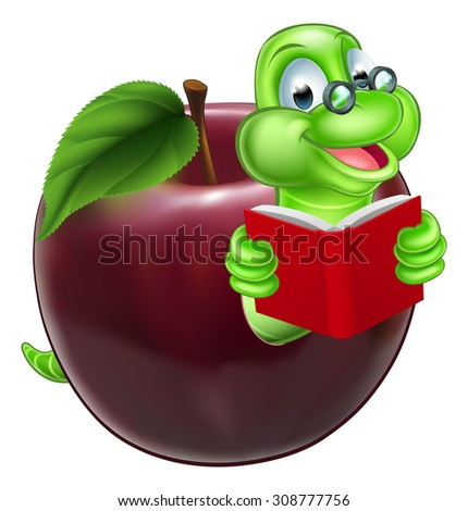A happy cute cartoon caterpillar bookworm worm or caterpillar reading a book and coming out of an apple and wearing glasses - stock photo