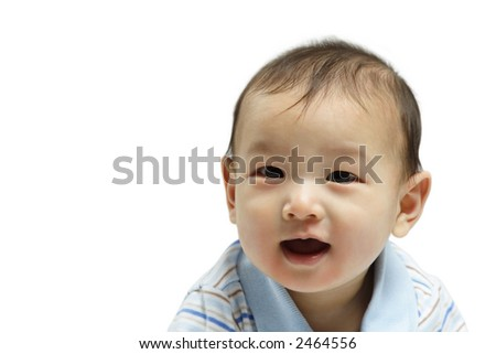 A happy cute little baby boy (isolated) - stock photo