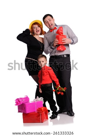 A  happy family on white background with gift boxes
