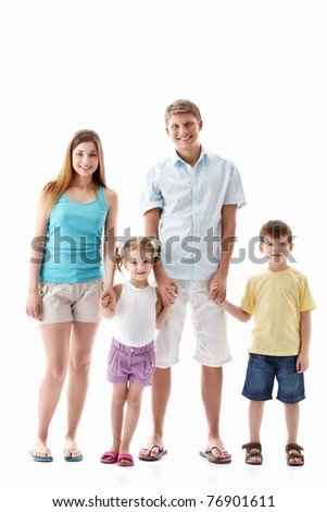A happy family with children on a white background - stock photo