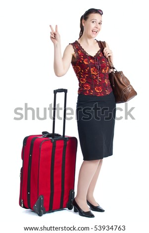A happy female traveler with sunglasses and suitcase on a white background. - stock photo