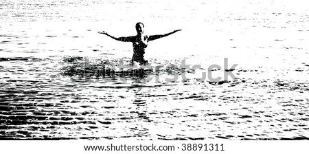 a happy girl in the sea abstract - stock photo