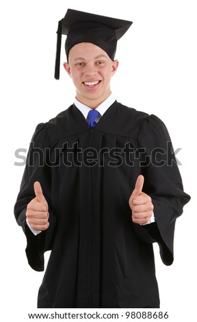 A happy graduate with a thumbs up sign, isolated on white