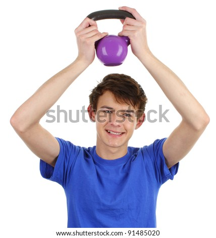 A happy guy wearing a blue shirt working out