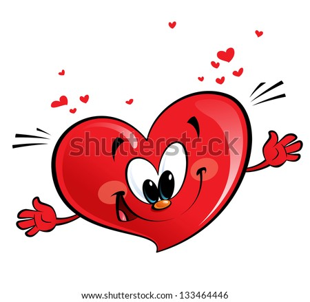 A happy heart character giving a hug - stock photo