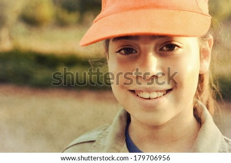 A happy Israel Girl Scout on the way to summer camp (vintage-processed) - stock photo