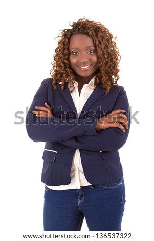 A Happy Large african business woman - isolated over white background