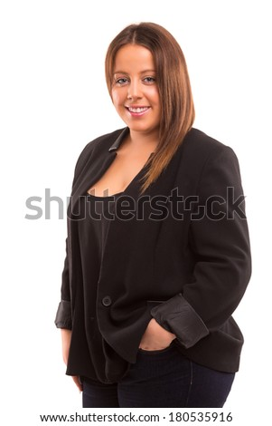 A Happy Large business woman - isolated over white background