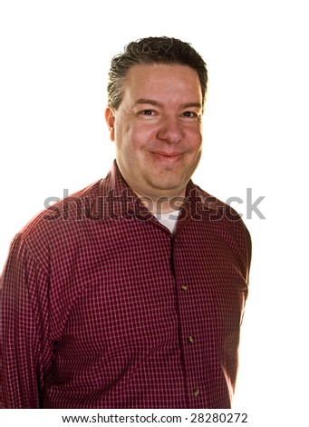 A happy middle-aged man in a red shirt on a white background