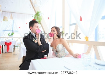 A happy newlywed couple. bride and groom portraits - stock photo