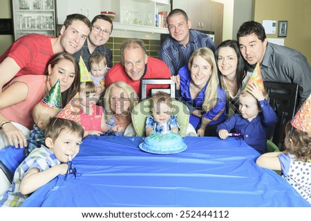 A Happy one Year Birthday to all the family - stock photo