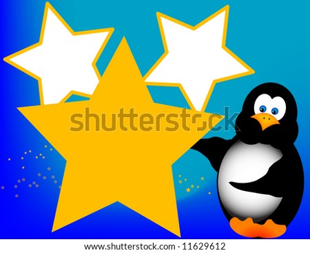 A happy penguin displays stars. Completely ready for copy.
