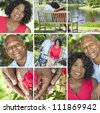 A happy senior African American couple together outside, active retirement in the summer sunshine - stock photo
