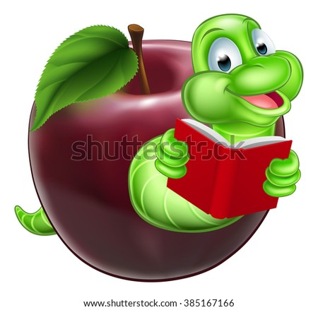 A happy smiling cute green cartoon caterpillar bookworm coming out of an apple and reading a book - stock photo