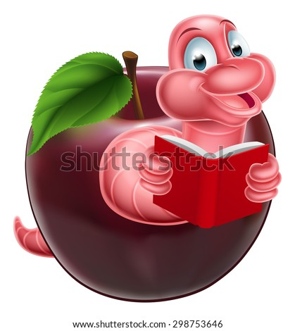 A happy smiling cute pink cartoon caterpillar worm bookworm coming out of an apple and reading a book - stock photo