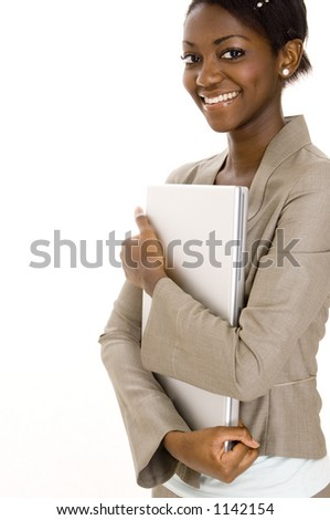 A happy smiling young woman holding a laptop computer